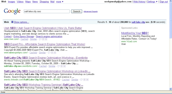 salt lake city seo website results